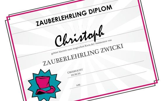 Zauberlehrling-Diplom als Geschenk
